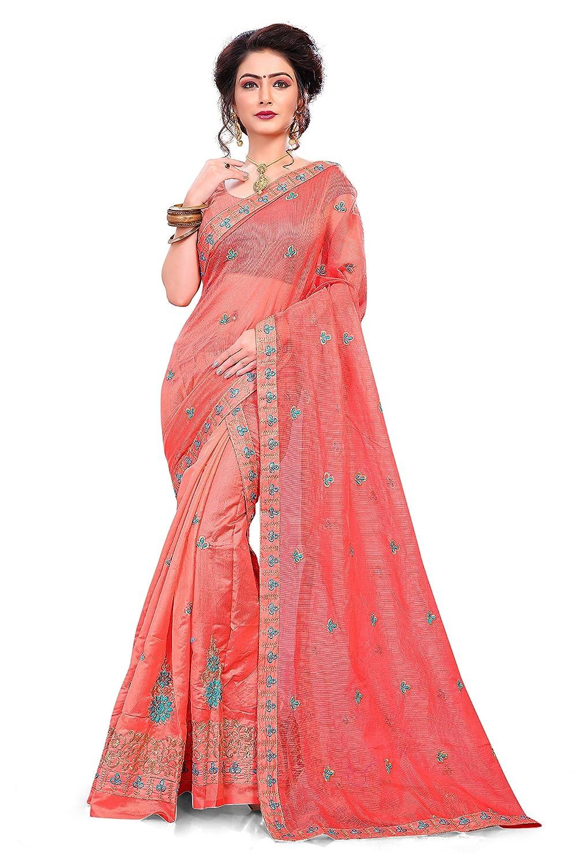S Kiran's Women's Peach Cotton Mekhla Supernet Chador - Mekhela Sador Saree - Dn 6792