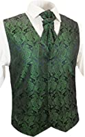 Emerald Green Paisley Wedding Vest with Tie , Cravat, Pocket Square and Cufflinks