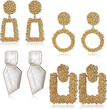 JOERICA 4 Pairs Statement Dangle Earrings for Women Rhinestone Exaggelated Large Drop Geometric Earrings Black/Gold Available