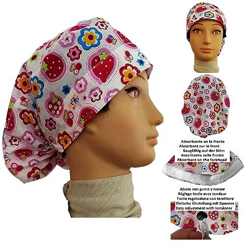 Cappello chirurgico. Donna. Fragole. per capelli lunghi f9ffa8df6fe4