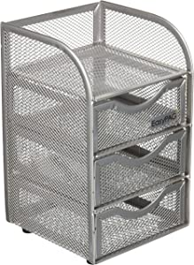 EasyPAG Mesh Desk Organizer 3 Drawer Mini Hutch, Silver