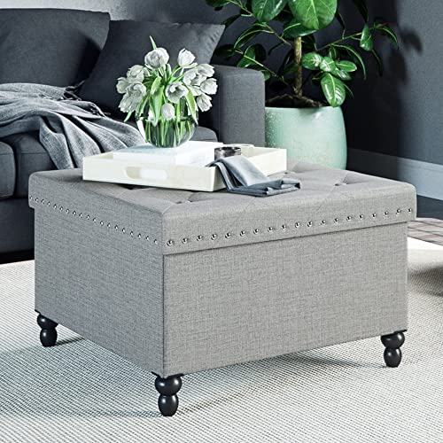 Nathan James Payton Ottoman Chest and Footrest with Storage and Silver Nailheads, Square Seat, Gray
