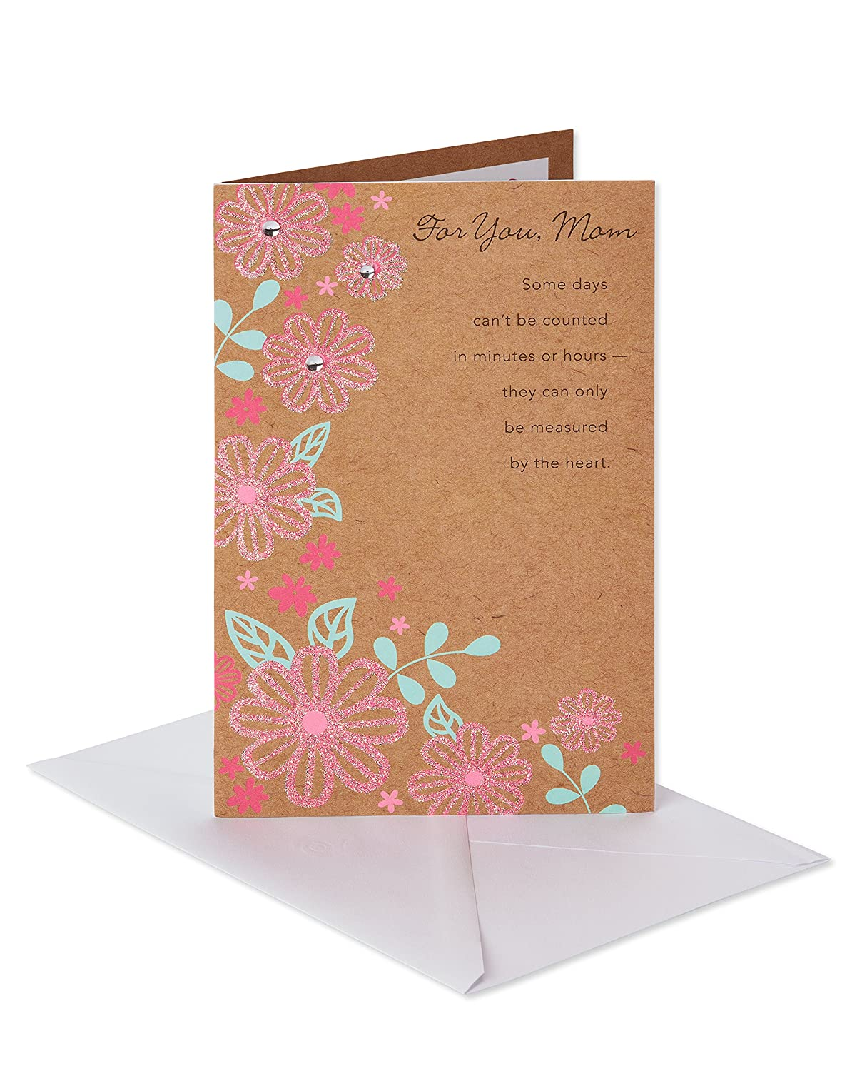 Amazon Pink Floral Birthday Card For Mom With Glitter Office Products