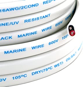 16 Ga (True American Wire Gauge) AWG Tinned OFC Copper Duplex 16/2 Dual Conductor Red Black Sheathed Cable for Automotive Marine Boat Wiring - 50 FT (Also in 100 & 200 Feet Roll)