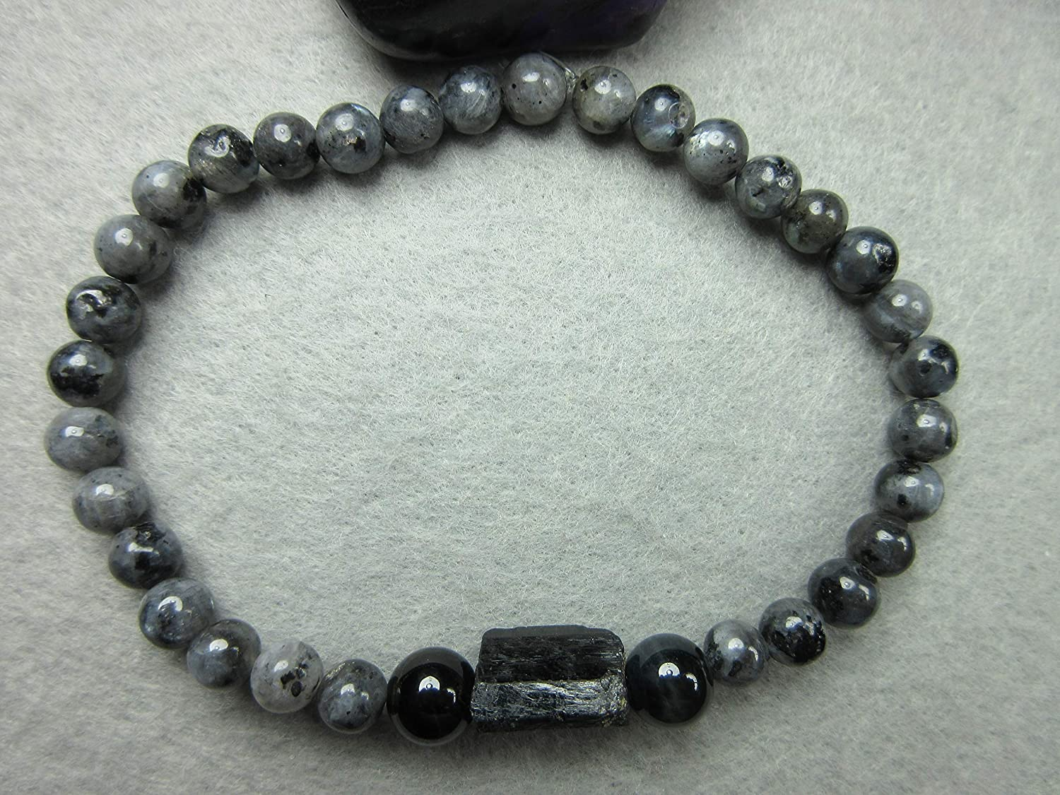 Genuine Larvikite, Blue Tigers Eye and Black Tourmaline Healing Bracelet Protection Lucid Dreaming