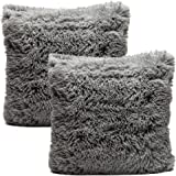 Chanasya Super Soft Long Shaggy Chic Fuzzy Faux Fur Warm Elegent Cozy Gray Throw Pillow Cover Pillow Sham- Solid Silver Gray Fur Throw Pillowcase 18x18 Inches 2-Pack(Pillow Insert Not Included)