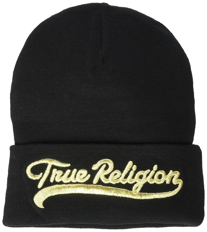 de4cad0e True Religion Men's Tr Script Watchcap, Black/Gold, OSFA: Amazon.ca:  Clothing & Accessories