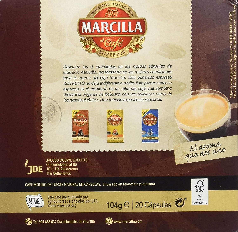 Marcilla Café Espresso Ristretto - Intensidad 12 - 20 Cápsulas de aluminio compatibles con cafeteras Nespresso®* - 20 Unidades: Amazon.es: Alimentación y ...
