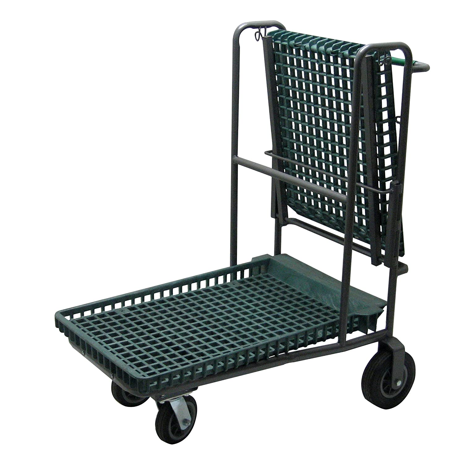 R. W. ROGERS RWR-PRE-881G KT Nesting Flip-Top Garden Center Cart with Semi-Pneumatic Wheels, Grey Green