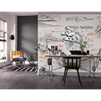 Komar Star Wars Blueprints Wallpaper Mural, Vinyl, Multi-Colour, 368 x 0.2 x 254 cm