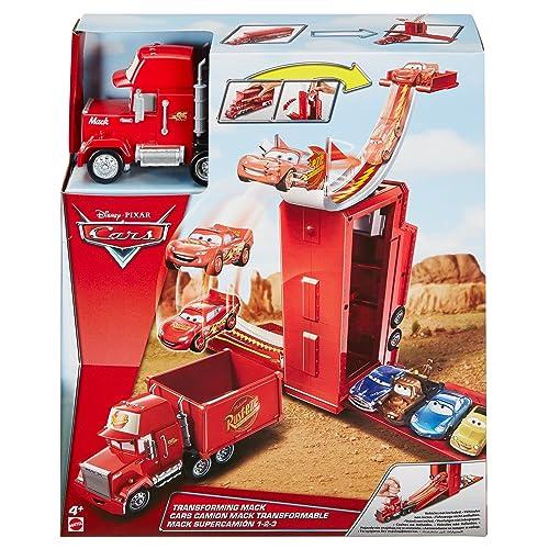 Disney Pixar Cars véhicule Camion Mack Transformable 3 en 1avec piste et rampe de lancement, jouet pour enfant, DVF39
