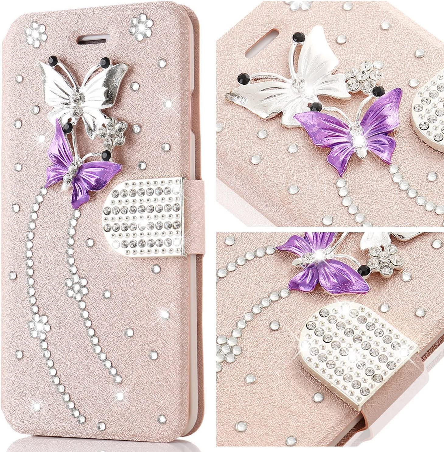 for iPhone 7 Plus Case,L-FADNUT Bling Jewellery Crystal Rhinestone Flip PU Leather Case,3D Butterfly Magnetic Diamond Buckle with Stand Wallet Card Holder for iPhone 7 Plus 5.5 inch - Rose Gold