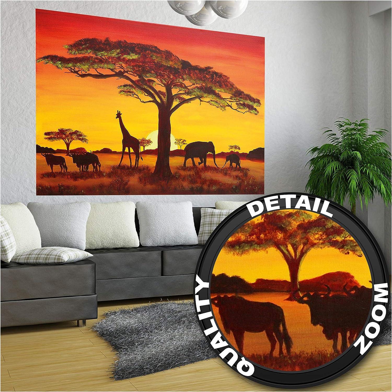 GREAT ART XXL Póster – Puesta De Sol En África – Mural Siluetas De Animales Nature Deco Estepa Paisaje Savanna Motif Photo Cartel De Pared Foto Y Decoración 140 x 100 cm