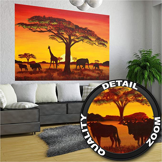 Details about  /AFRICAN SUNSET GIRAFFE SILHOUETTE FRAMED CANVAS WALL ART PRINTS