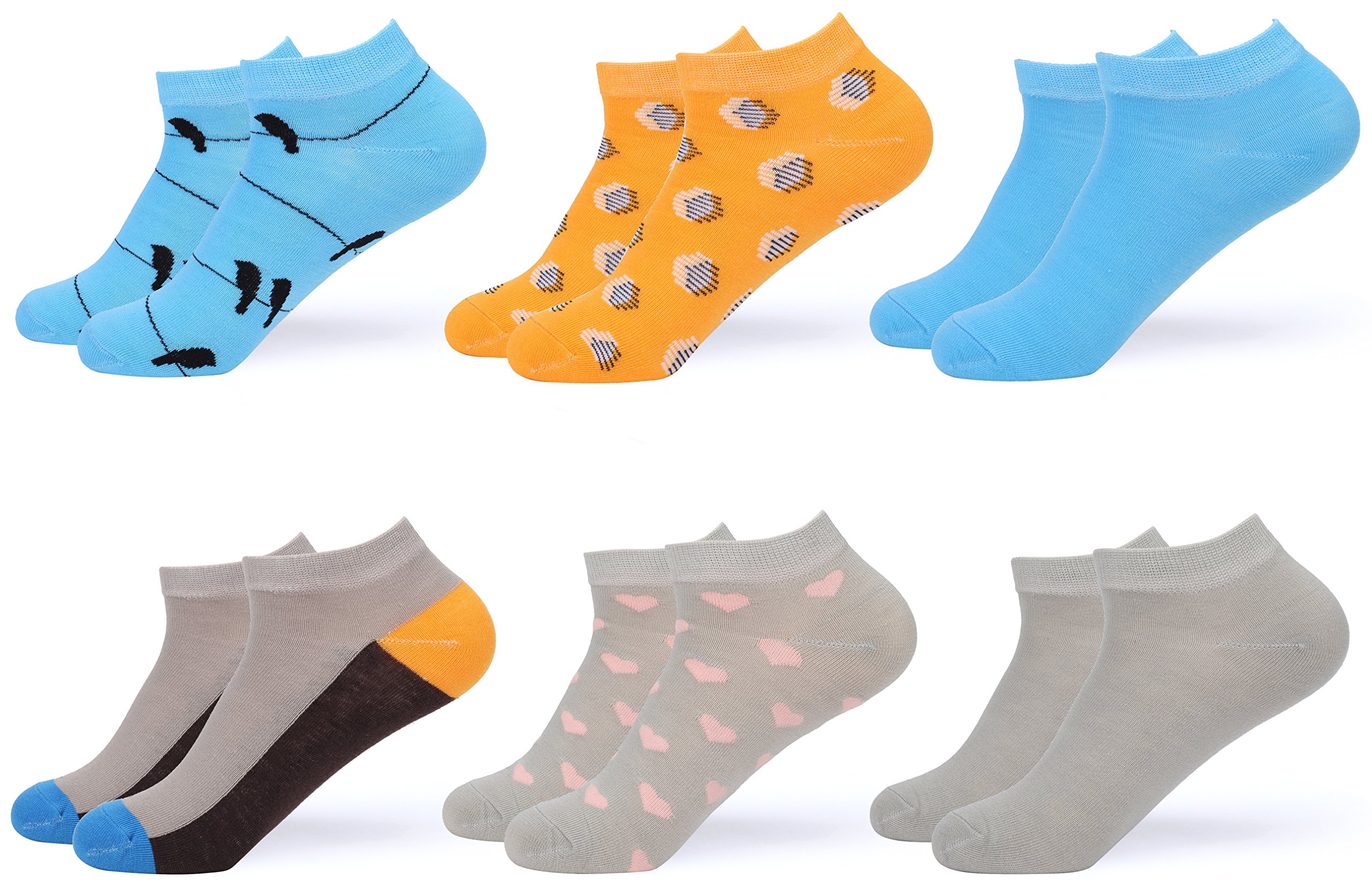 Gallery Seven Women's Ankle Socks - Low Cut Colorful Socks For Women - Size 9-11 - 6 Pack - Style 5