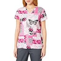 24|7 Comfort Scrubs Women's V Neck Scrub Top, Butterfly Patches, Large