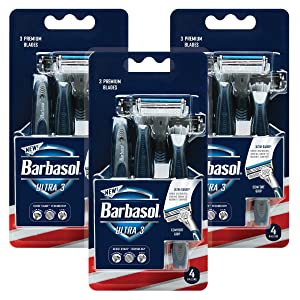Barbasol Ultra 3 Premium Disposable Razor Value Pack Bundle (3 Packs/12 Total Razors)