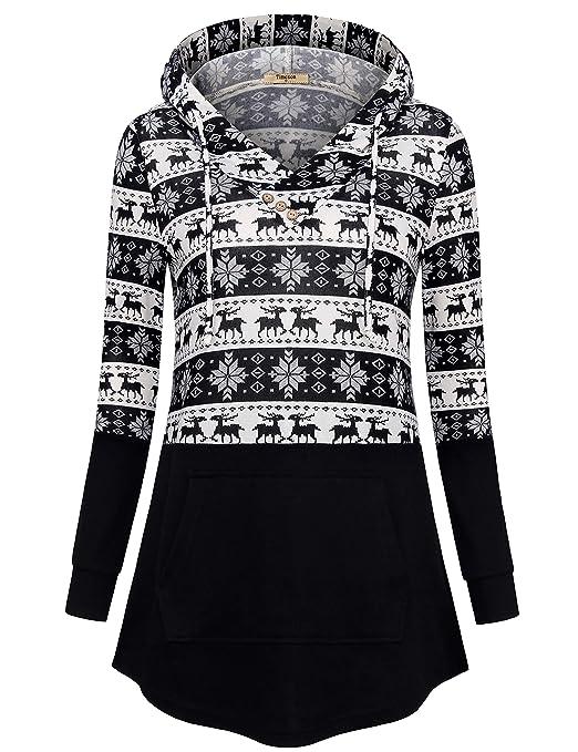 Timeson Women's Long Sleeve T-Shirt V Neck Plaid Lightweight Thin Tunics with Pocket