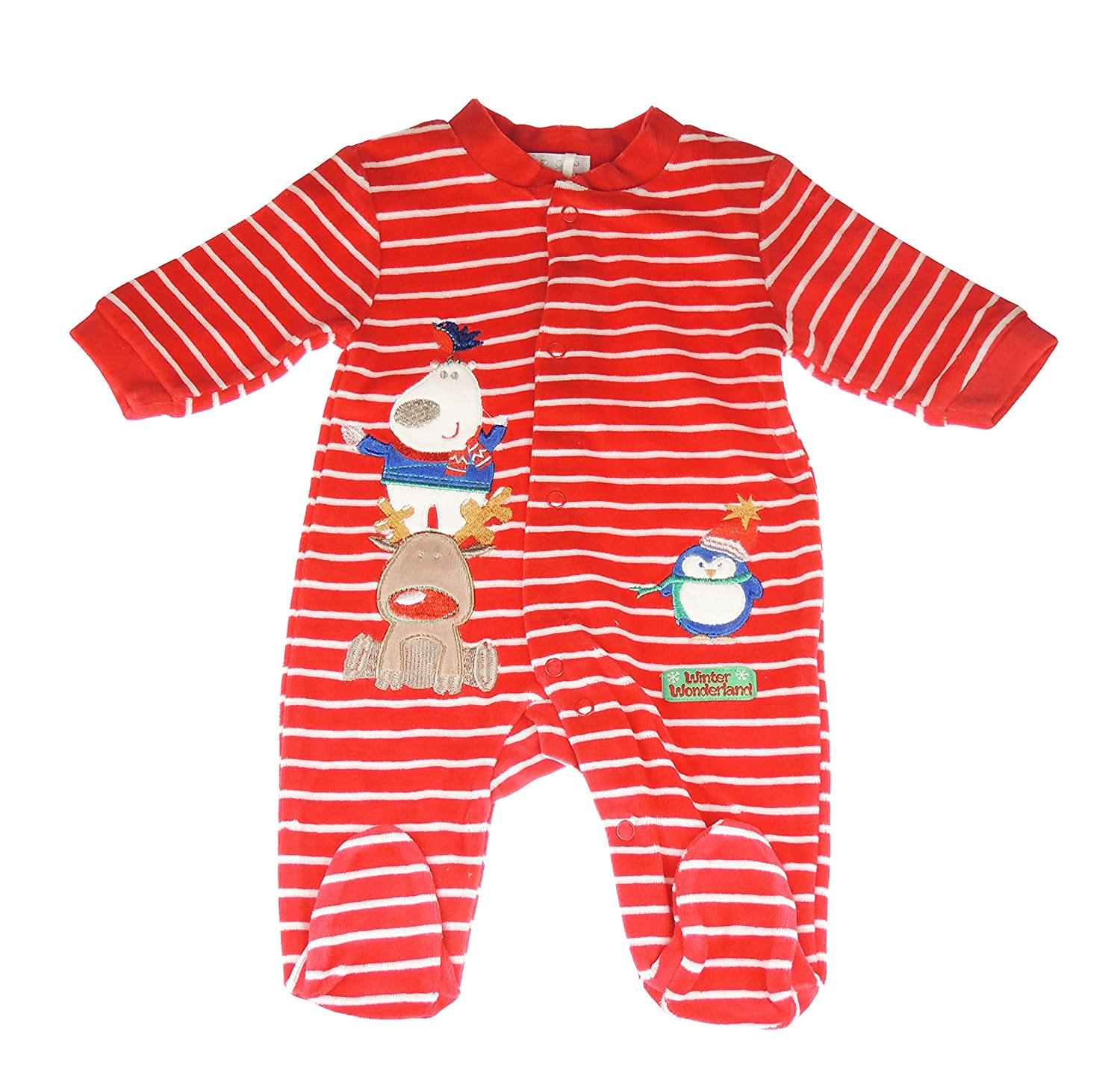 Festive Stripy Reindeer Penguin Christmas Winter Wonderland Baby Girls Boys Romper Sleeper All In One 6 Months Glamour Girlz