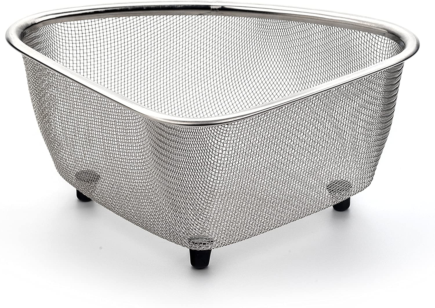 RSVP International Endurance (COR-M) In-Sink Mesh Colander Strainer Basket, 3 Quart | Organize Sponges, Collect Food Scraps | Dishwasher Safe | Small Corner Basket | Steaming, Draining & Rinsing