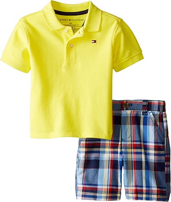 34bcf011 Tommy Hilfiger Baby Boys' Ivy Polo Pique Set B, Yellow Fish, 12 Months