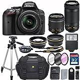 Nikon D5300 DX-format Digital SLR w/ AF-P DX NIKKOR 18-55mm f/3.5-5.6G VR and 70-300mm F/4.5-5.6G DX Lens + 32GB Memory Accessory Bundle – International Version