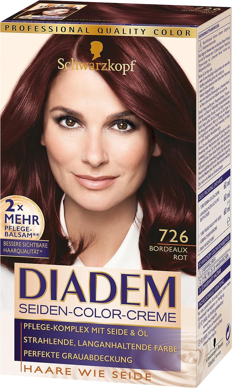 Diadem Seiden-Color-Creme 726 - Tinte de coloración, nivel 3, 3 unidades, 180 ml, color rojo burdeos