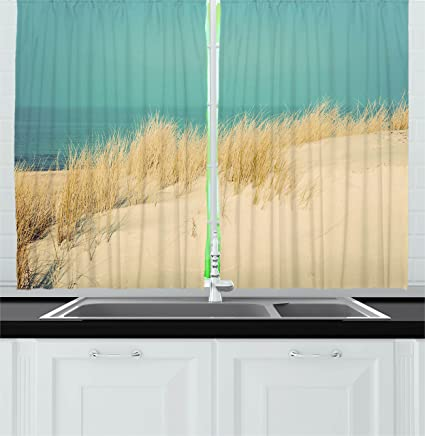 Ambesonne Modern Decor Kitchen Curtains Calm Sunny Beach Scenery Sand Dunes Morning In Baltic Sea
