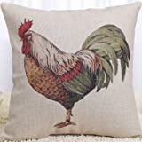 Pillow Cases Standard Size, CaseShell® Rooster Pattern Cotton Linen Square Throw Pillow Case Decorative Cushion Cover Pillowcase Pillowslip for Home Sofa 18x18 Inch