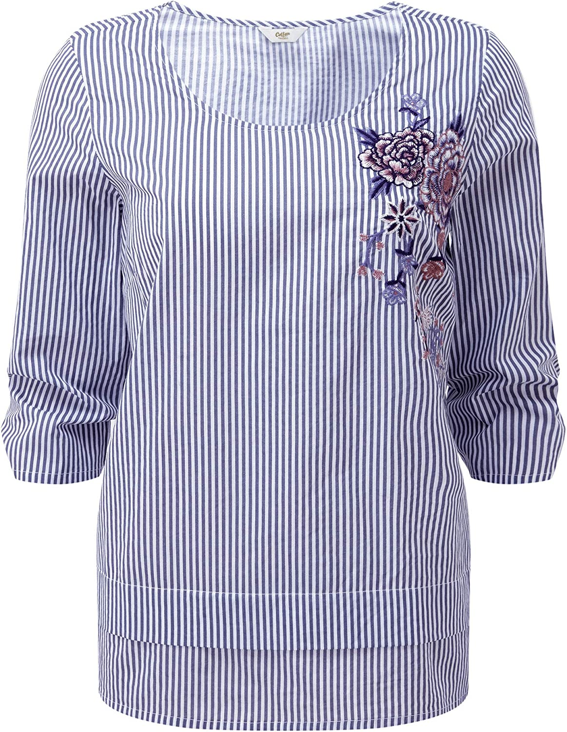 Cotton Traders Womens Ladies Casual Scoop Neck Embroidered Printed Stripe Top