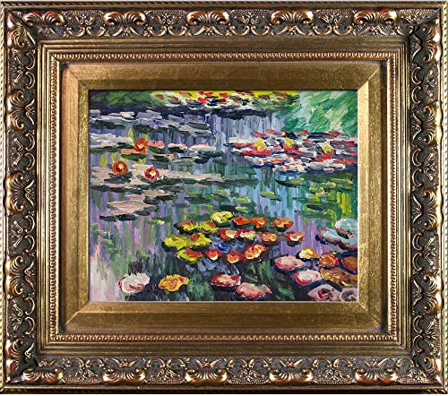 overstockArt Monet Water Lilies Artwork with Baroque Antiqued Wood Gold Frame