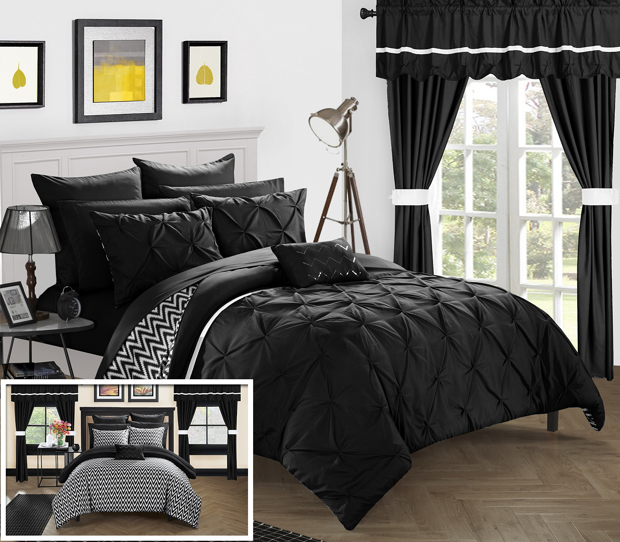 Chic Home CS0575-AN 20 Piece Jacksonville Complete Bed Room In A Bag Super Pinch Pleated Design Reversible Chevron Pattern Comforter Set, Sheets Window Treatments And Decorative Pillows, King, Black