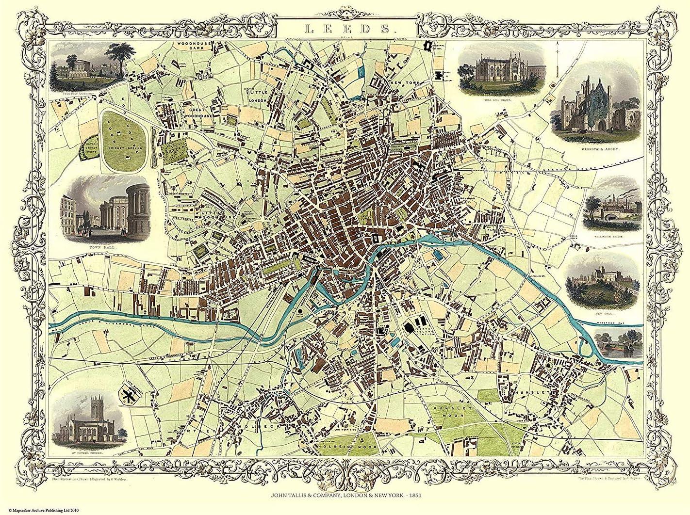 History Portal Edición Limitada 1000 Piezas Puzle Rompecabezas -Mapa del Leeds 1851 por John Tallis: Amazon.es: Juguetes y juegos