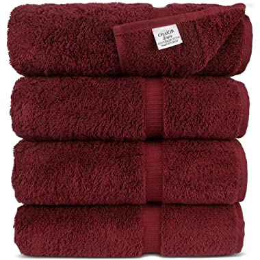 Chakir Turkish Linens Turkish Cotton Luxury Hotel & Spa Bath Towel, Bath Towel - Set of 4, Cranberry