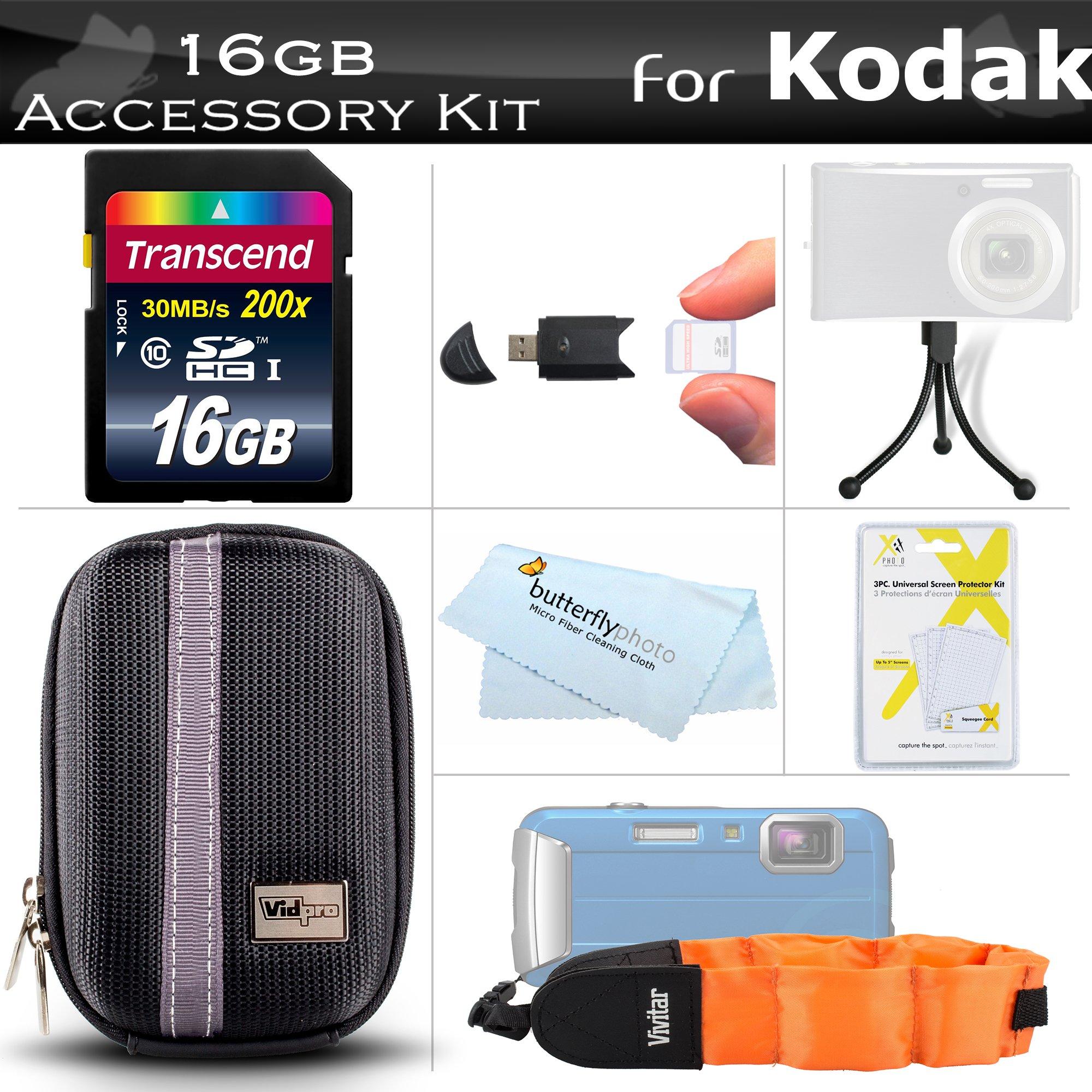 16GB Accessories Bundle Kit For Kodak PlaySport (Zx5) HD Waterproof Pocket Video Camera (2nd Generation) NEWEST MODEL Includes 16GB High Speed SD Memory Card + Hard Case + USB Card Reader + Float Strap + Screen Protectors + Mini Tripod + MicroFiber Cloth