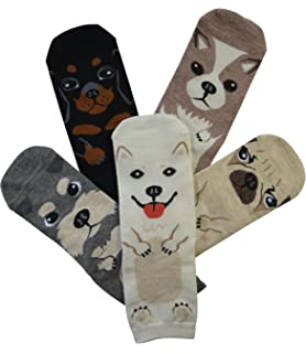 5 Pairs Womens Fun Socks Cute Dog Animals Funny Funky Novelty Cotton Gift