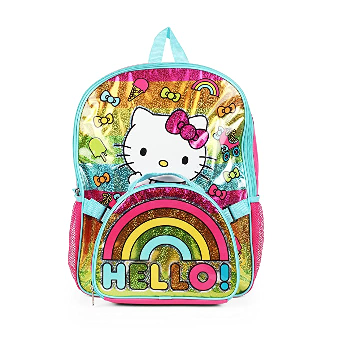 237eab3ce Image Unavailable. Image not available for. Color: Hello Kitty Rainbow Bow  Backpack with Insulated ...