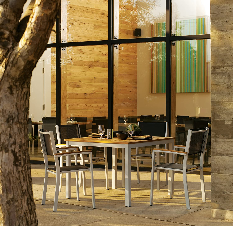 Stackable outdoor chairs lightweight peppermill interiors - Amazon Com Oxford Garden Travira Aluminum And Teak Armchair Black Sling 2 Pack Garden Outdoor