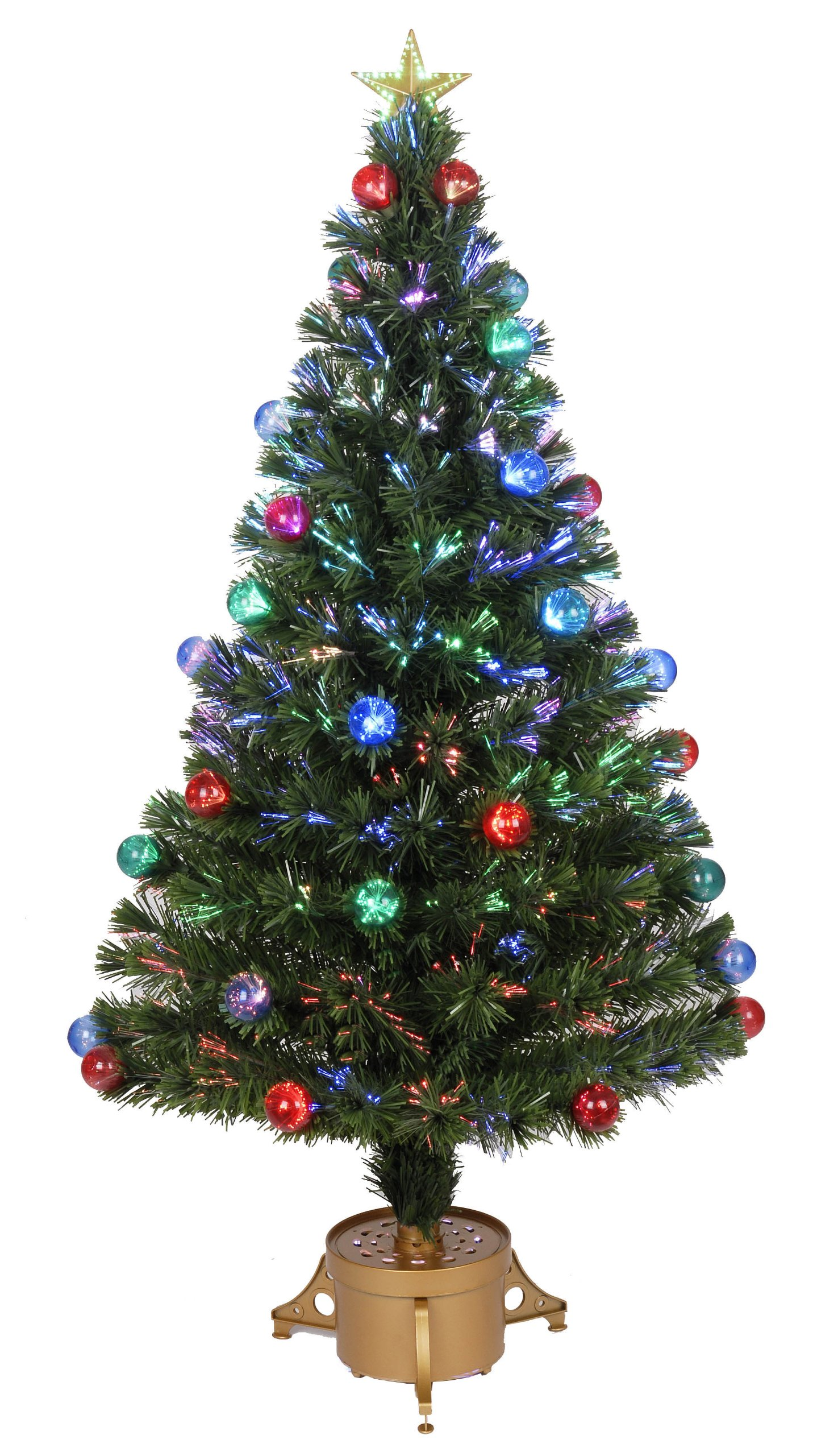 Jolly Workshop Multi-Color LED Fiber 165 Tips 14-Ply Optic Tree Top Star with Balls/Gold Base, 48-Inch