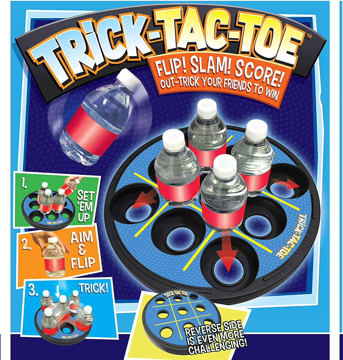 Trick-Tac-Toe Bottle Flipping Game for Indoors, Tailgate or Backyard by Cortex Toys