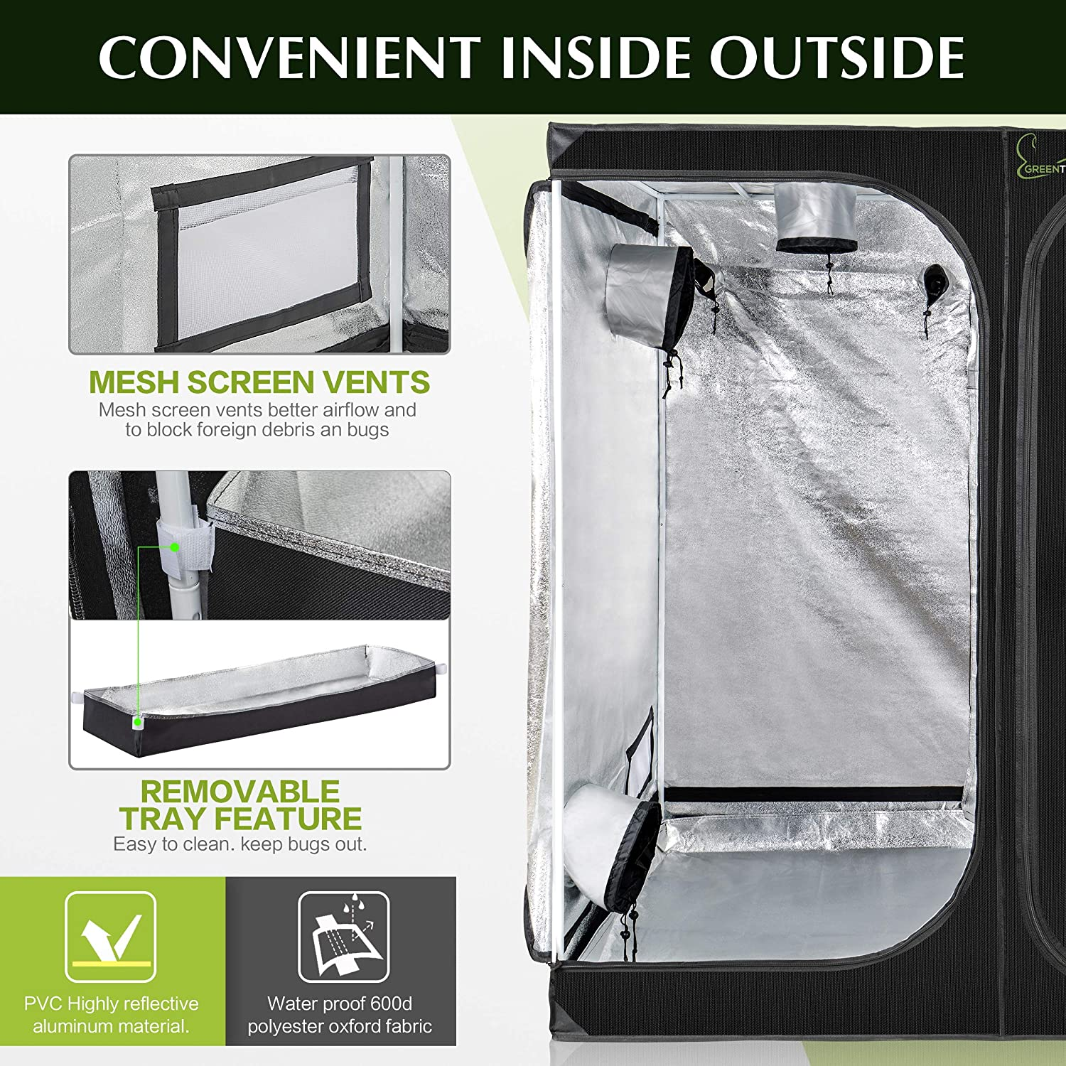 """48/""""x36/""""x72/"""" Greenthumbpro 2 in1 Grow Tent 48/""""x36/""""x72/"""" for Hydroponic Indoor Gardening"""