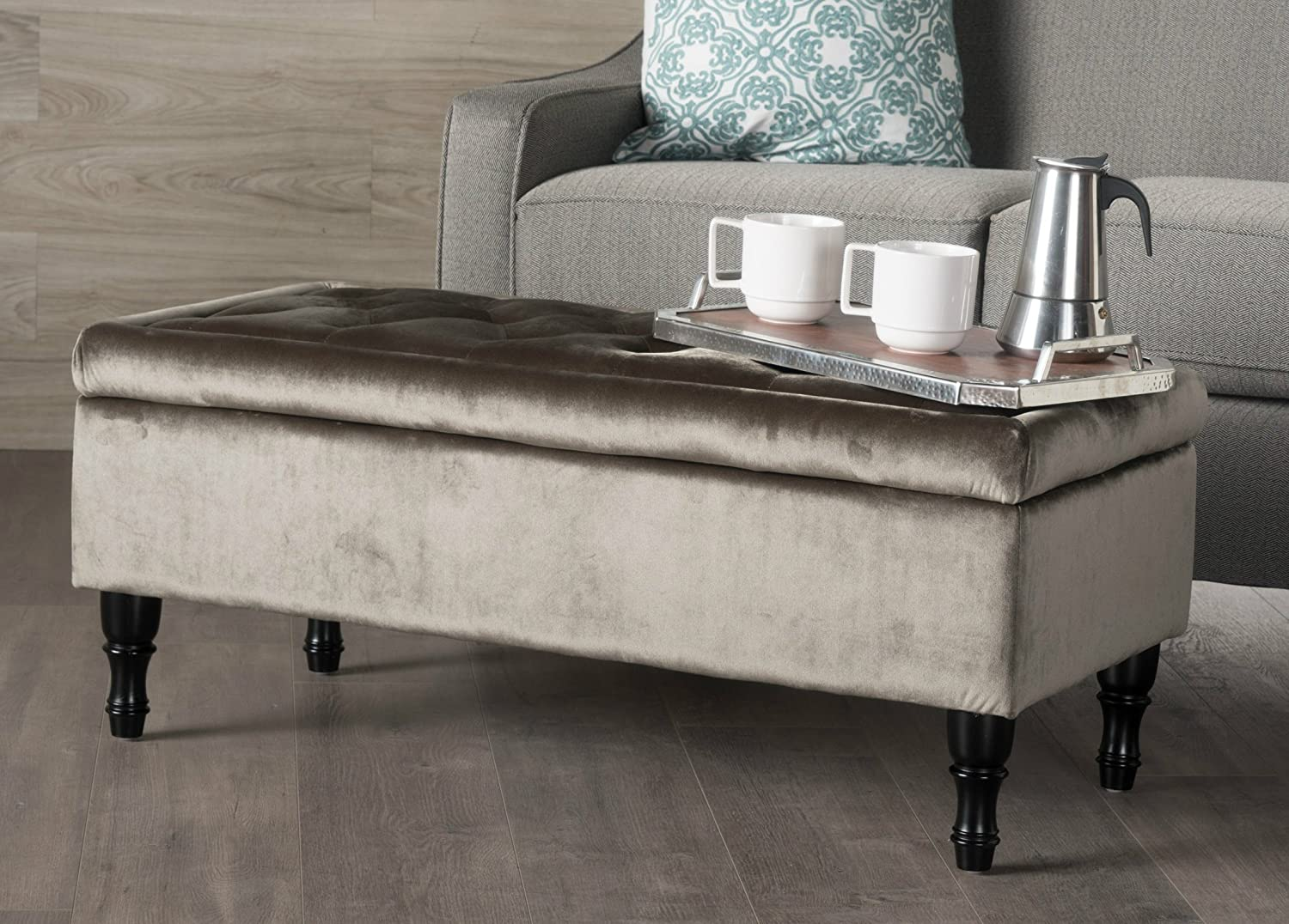 Amazon Com Tufted Storage Ottoman Bench Soft Velvet Top Surface Solid Bench Wood Legs Kitchen Dining