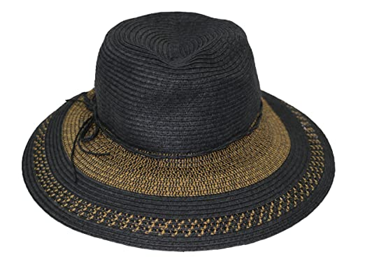 9b5b9e1b3f8 August Hat CO Two-Tone Brim Tie Accented Floppy Sun Hat (Black