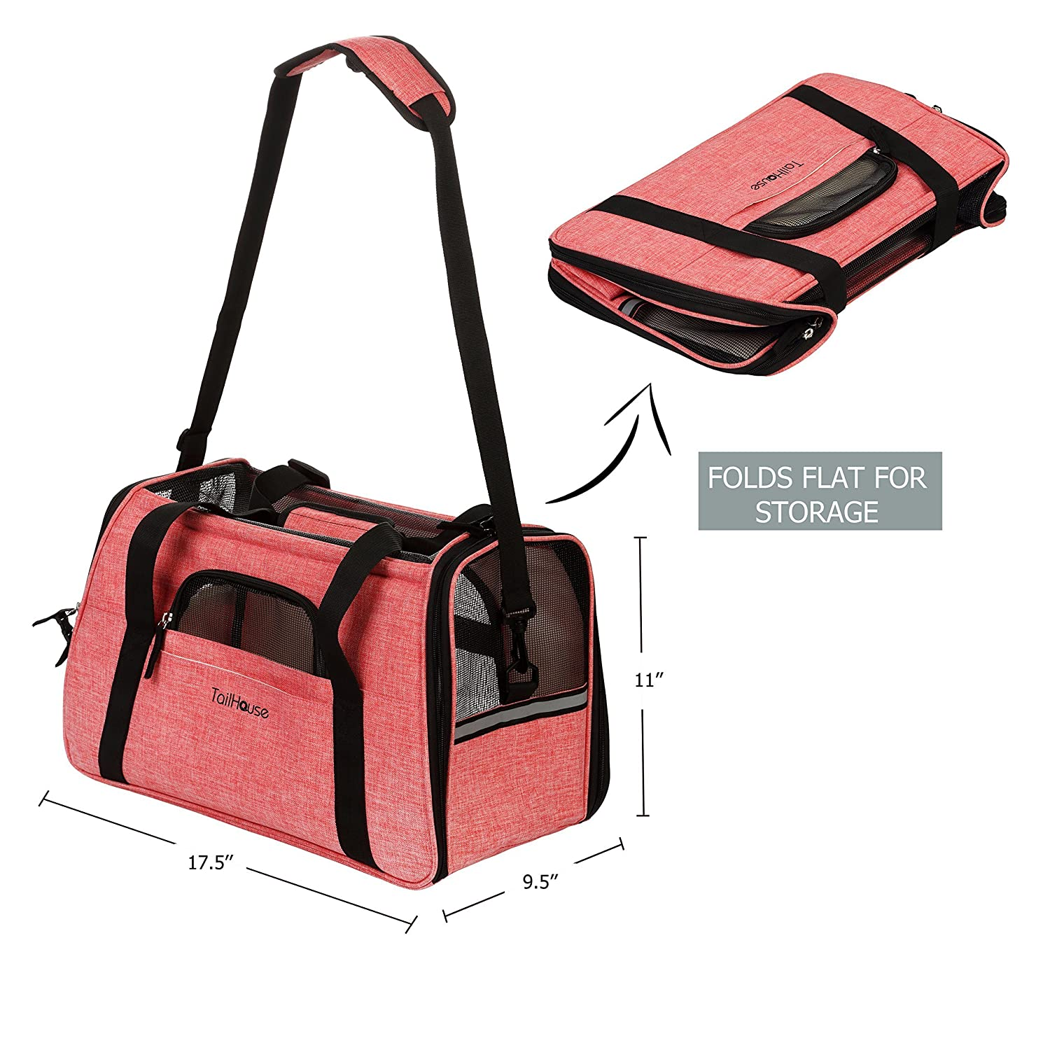 71a37be9e7 TailHouse Pet Carrier Airline Approved Dogs Cats Puppies  Pink Purse Travel  Bag fits Under seat- Premium Soft Sided Tote w Fleece Bed Shoulder Strap   ...