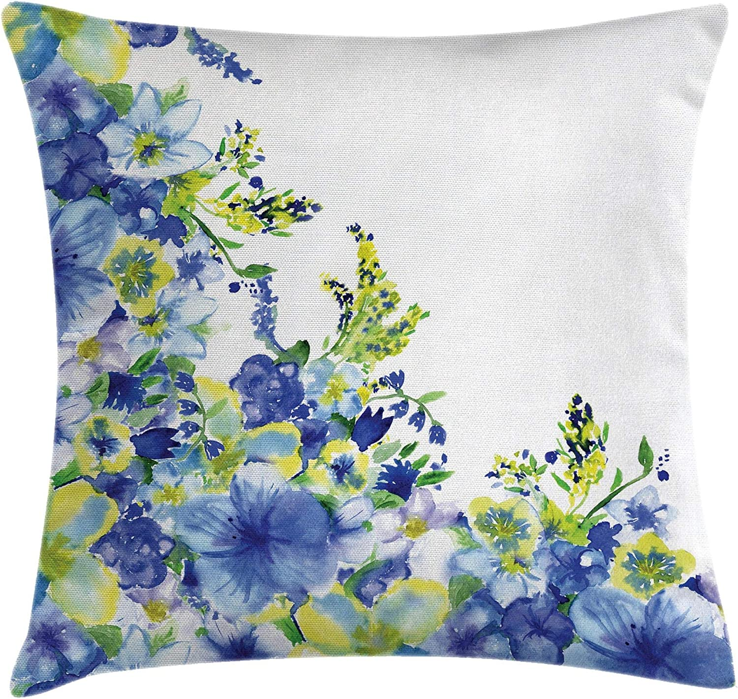 """Ambesonne Watercolor Flower Throw Pillow Cushion Cover, Motley Floret Motifs with Splash Anemone Iris Revival of Nature Theme, Decorative Square Accent Pillow Case, 24"""" X 24"""", Blue Yellow"""