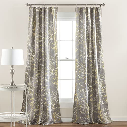 Lush Decor Forest Curtains – Tree Branch Leaf Darkening Window Panel Drapes Set for Living, Dining, Bedroom Pair , 84 x 52 , Yellow and Gray