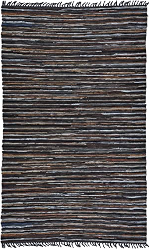 Matador Leather Chindi Handmade Rug, 30-Inch by 50-Inch, Brown