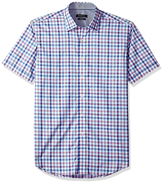 86d18f28fb7f Bugatchi Men's Cotton Print Slim Fit Short Sleeve Point Collar Shirt,  Classic Blue, Medium