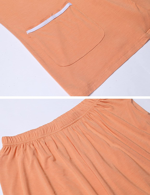 MAXMODA Womens Pajama Set Floral Short Sleeve Sleepwear Pjs Sets Ladies 2-Piece Nightwear