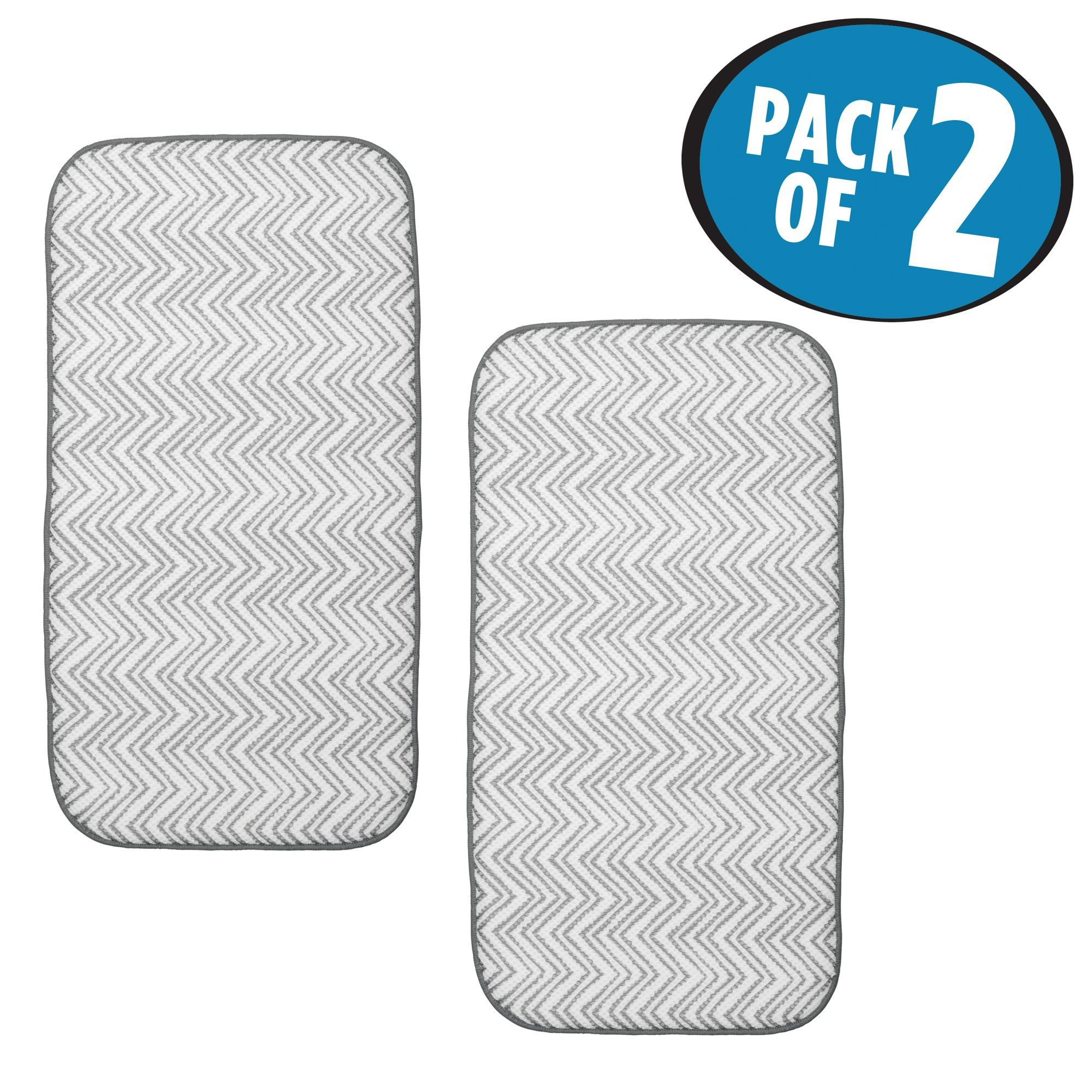 mDesign Mini Chevron Kitchen Countertop Dish Drying Mat - Pack of 2, Gray/White